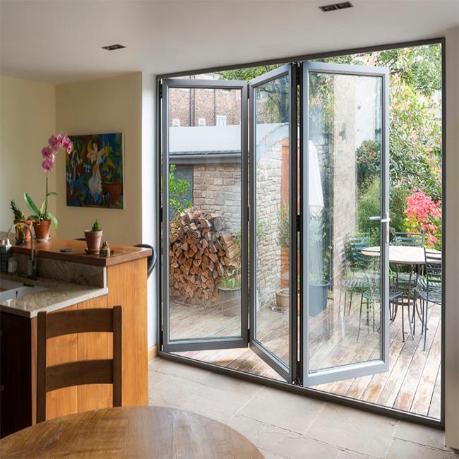 Economic Frameless Folding Door 12mm Glass Sliding Bi Fold