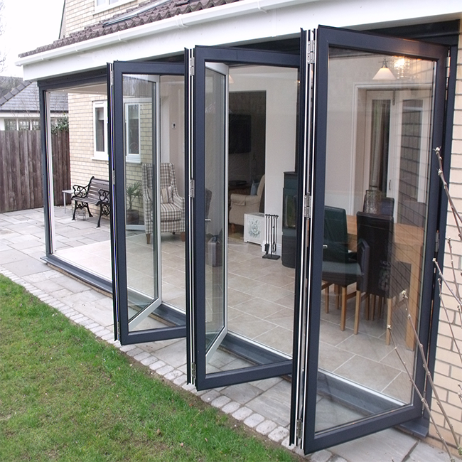 12mm glass door sliding bi-fold door