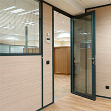 Factory double glass soundproof commercial aluminum glass swing door
