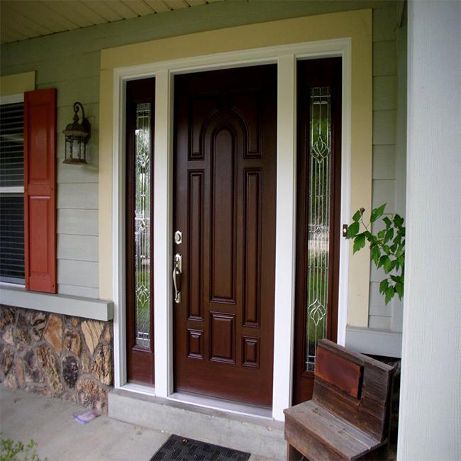 Solid Teak Wood Door Front Entry Double Door For Villa